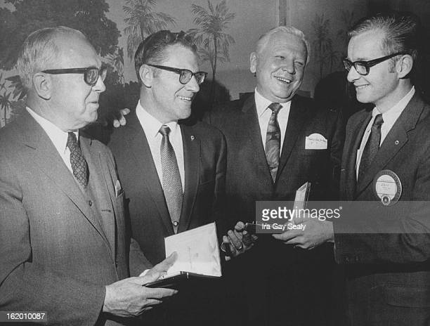 NOV 18 1969 Community Service Awards Presented John W Hall left president of the Denver Area Council of the Boy Scouts of America and Francis S...
