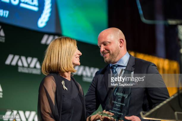 Community Solutions CEO and IAVA Civilian Leadership Honoree Rosanne Haggerty and Paul Rieckhoff attend the 11th Annual IAVA Heroes Gala at Cipriani...