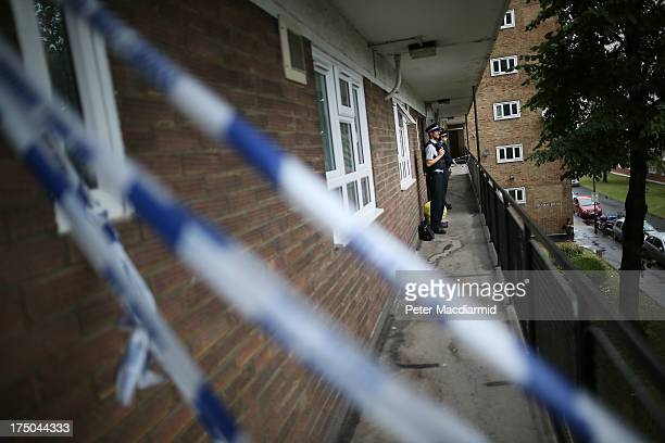 Community support officers stand guard at an address in Elstead House where police are investigating a stabbing incident on July 30, 2013 in Brixton,...