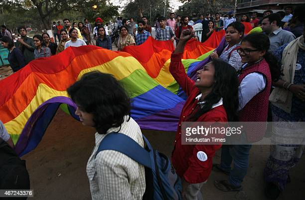 community takes out a protest march against the stoppage of Queer Programs at Jawaharlal Nehru University campus on March 22 2015 in New Delhi India