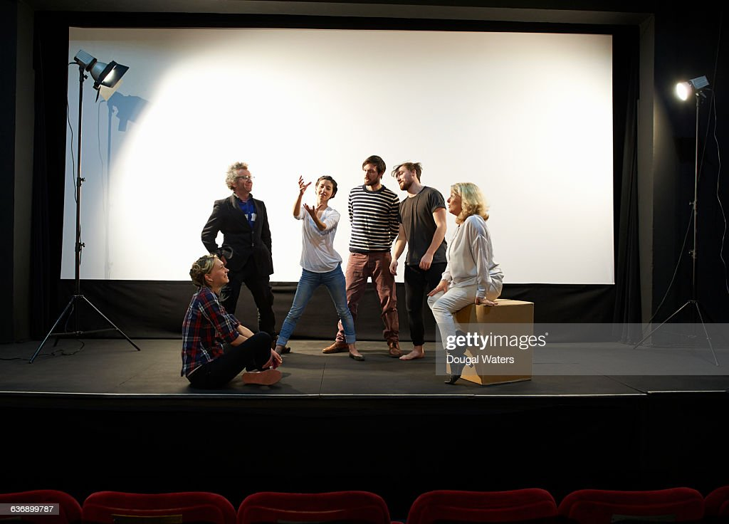 Community theatre group on stage. : Stock-Foto