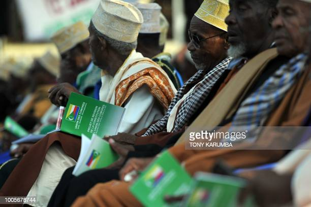 Community's elders attend a rally in support of a planned national referendum by the administration of current President on July 26 2018 in Moroni...