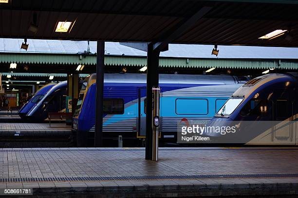 Commuter and interstate Trains waiting to depart from Sydney Central train station Sydney Australia 15March 2014