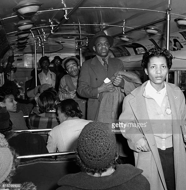 A commuter bus bound for the African American section of town at 4 PM Baltimore Maryland April 1943