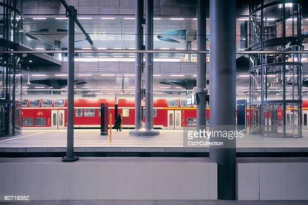 Commuter on platform at train station