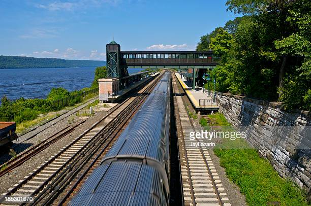 Commuter railroad train near Hudson River, Bronx, New York City
