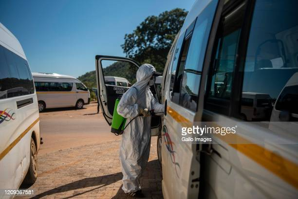 Commuter taxis being disinfected at Mams Mall on Day Eleven of National Lockdown on April 06 2020 in Pretoria South Africa According to media reports...