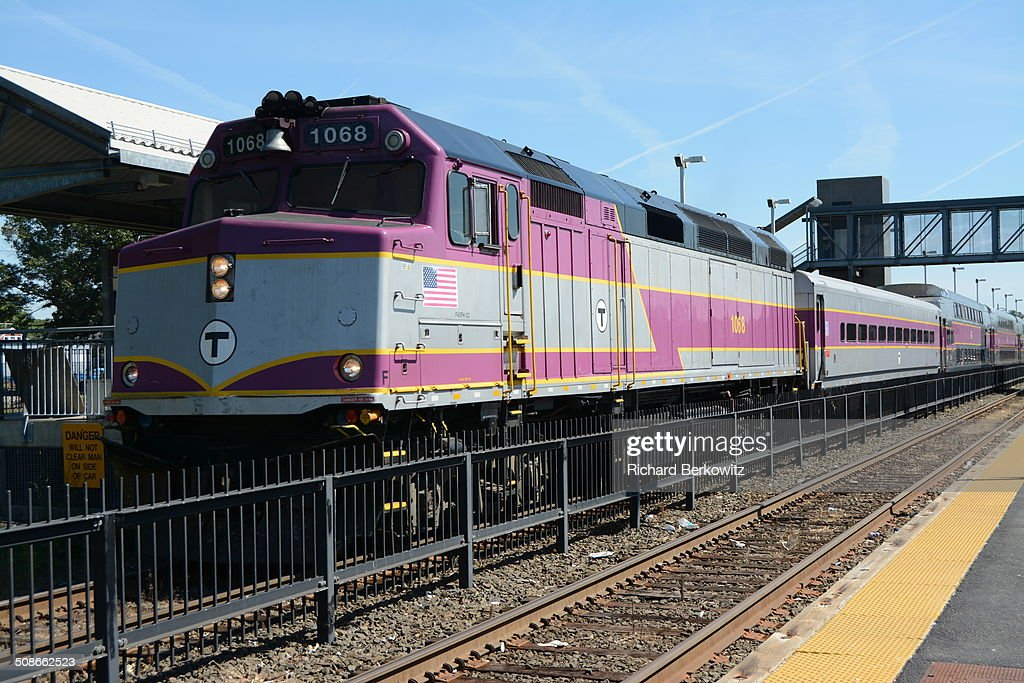 Commuter Train at stop in Framingham, Ma