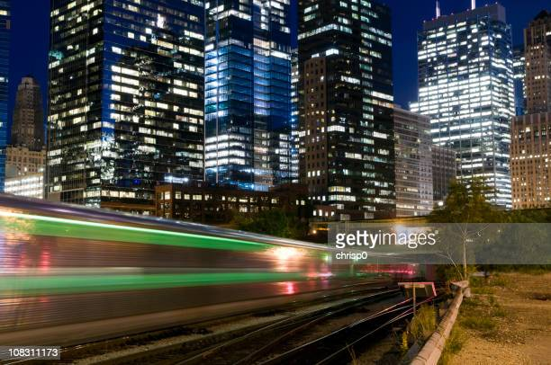 commuter train in the chicago loop - metra train stock photos and pictures