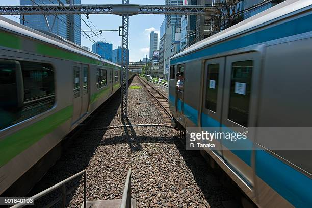 Commuter Trains at Hamamatsucho in Tokyo, Japan