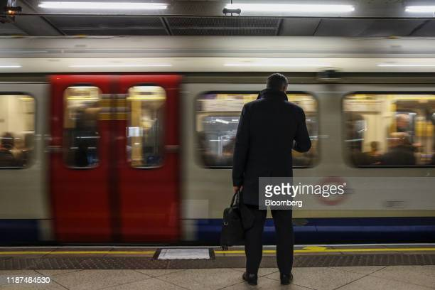 A commuter waits for the train at Westminster London Underground Station in London UK on Monday Dec 9 2019 Prime Minister Boris Johnson said his...