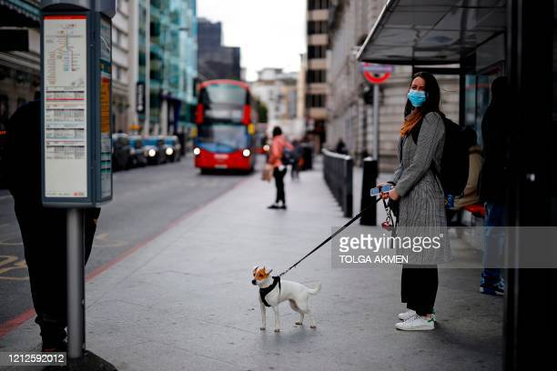 Commuter with a dog and wearing PPE , including a face mask as a precautionary measure against COVID-19, waits to catch a red London bus in the...