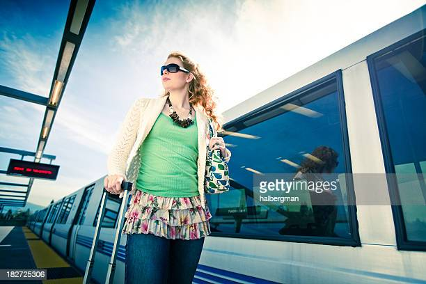 bart commuter with luggage (cross-processed) - fremont california stock pictures, royalty-free photos & images