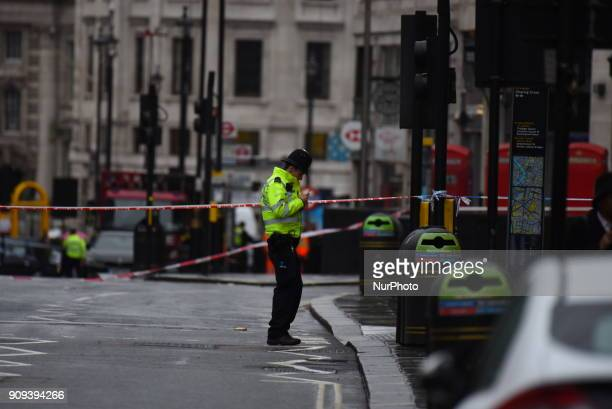 Commuters are facing major disruption after a gas leak closed parts of London's West End on January 23 2018 Roads are closed and Charing Cross...