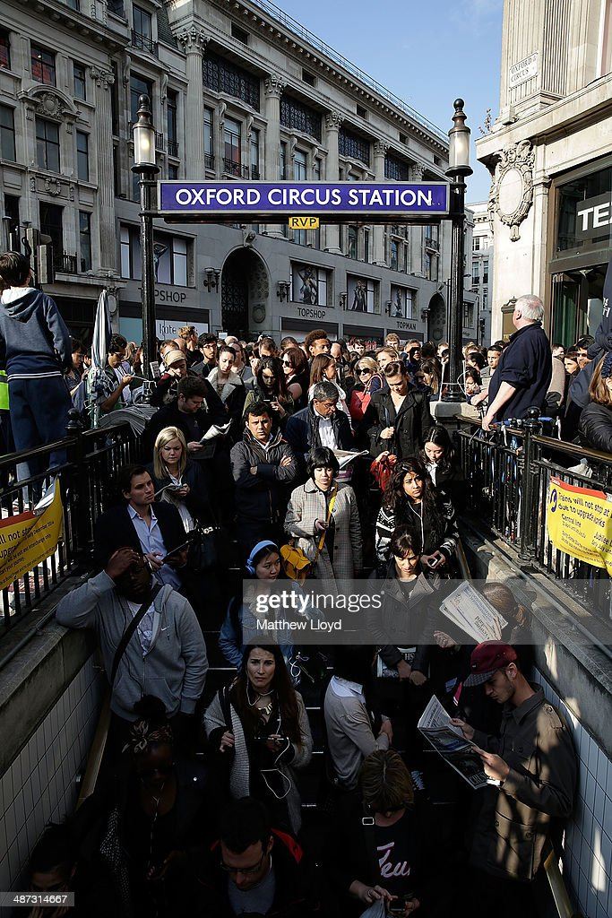 Commuters are held outside Oxford Circus tube station to avoid overcrowding on April 29, 2014 in London, England. Union members are striking for 48 hours in a dispute over management plans to close all ticket offices with a loss of nearly 1000 jobs.