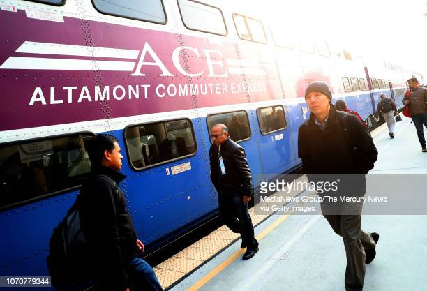 Commuters are photographed at an ACE train station on Thursday Nov 15 in Santa Clara Calif