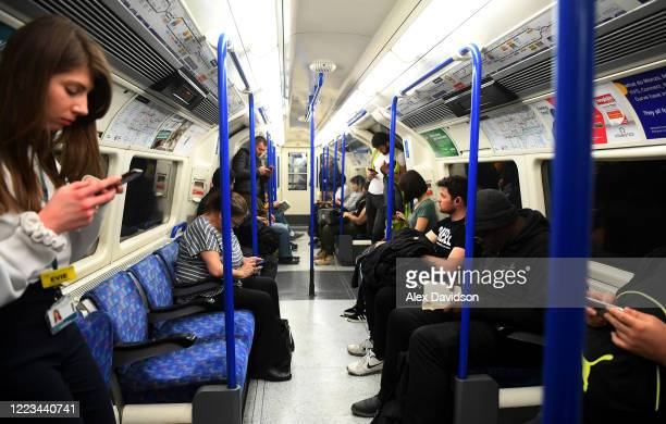 Commuters are seen on a Northern Line Tune on May 07 2020 in London England The UK is continuing with quarantine measures intended to curb the spread...