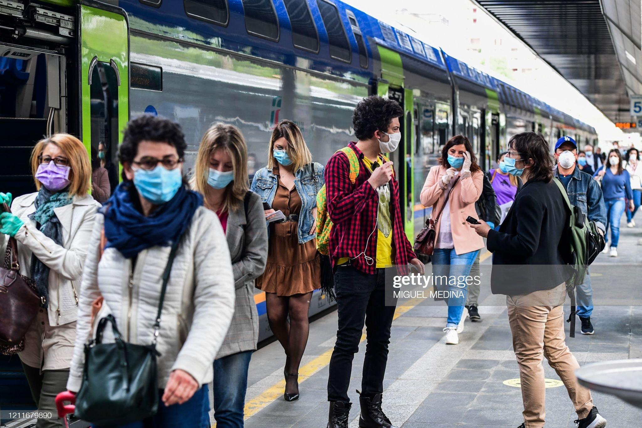 Herd Immunity: Crowd wearing masks inside train station, Ita