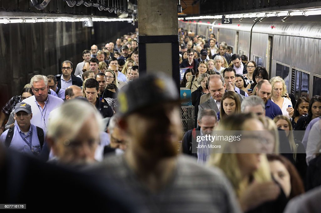 Commuters arrive to Grand Central Station on September 19, 2016 in New York City. Many commuters faced delays following weekend bombings in New York City and New Jersey. Meanwhile, some 200 world leaders are arriving to New York City for this week's United Nations General Assembly.