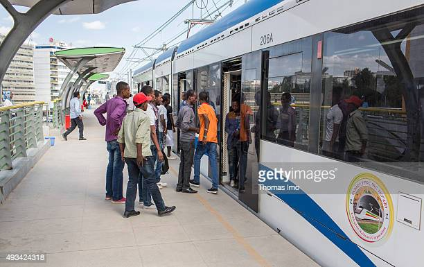 Commuters at a station of lighttrain street car on October 12 2015 in Addis Abeba Ethiopia