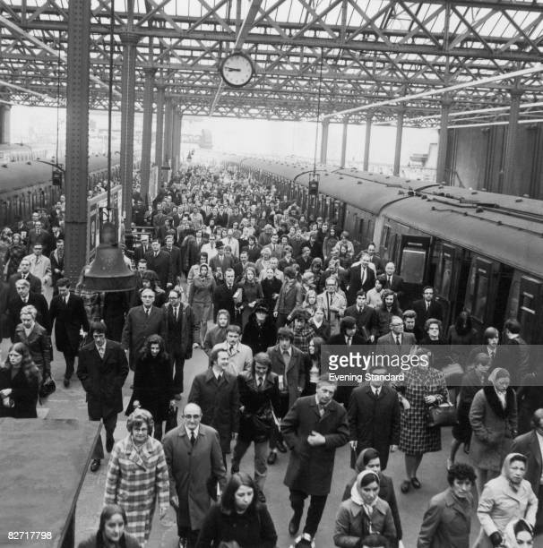 Commuters at Charing Cross railway station London 12th April 1972