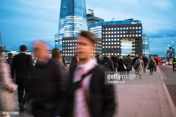 Commuters at rush hour, Financial district, London