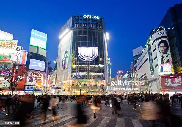 Commuters blurred on Shibuya Crossing