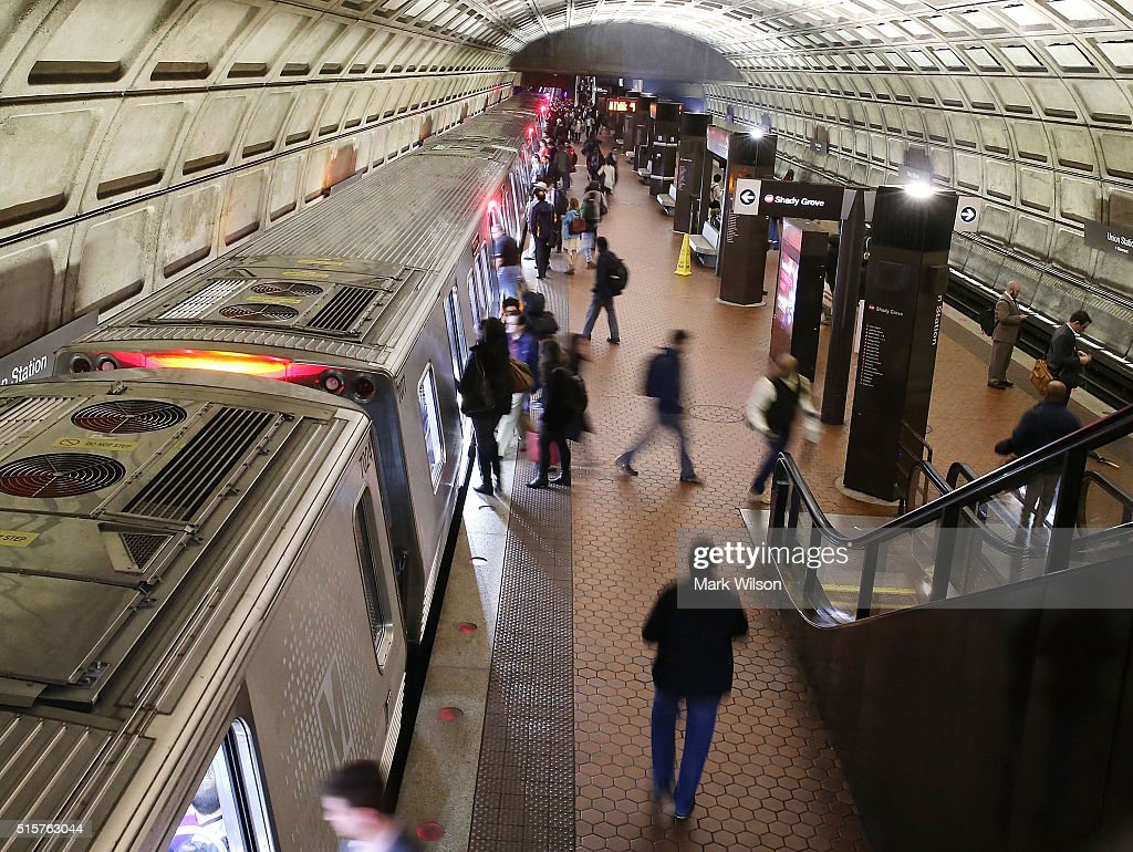 Commuters board a Metrorail train at Union Station, March 15
