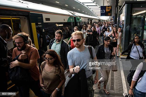 Commuters disembark a rush hour Southern rail train at London Bridge on September 8 2016 in London England Hundreds of thousands of Southern rail...
