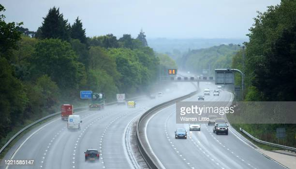 Commuters drive along the rain drenched M3 motorway on April 28 2020 in Camberley United Kingdom British Prime Minister Boris Johnson who returned to...