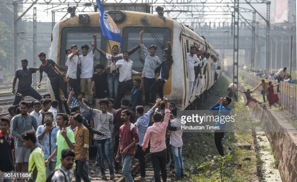 Commuters facing problems during Dalit protest at Kanjurmag as they demand arrested of Sambhaji Bhide and Milind Ekbote on January 4 2018 in Mumbai...