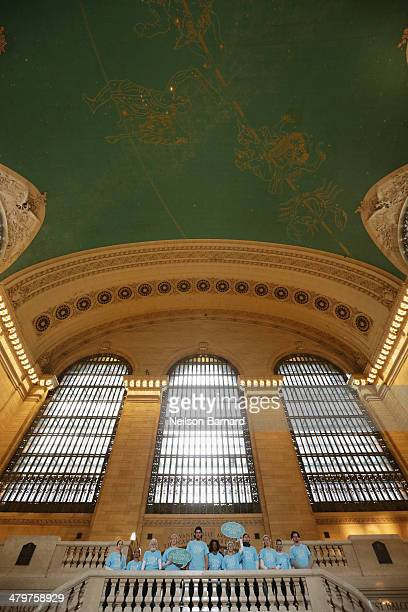 Commuters get some Headspace during a Meditation Moment at Grand Central in celebration of the Westin Well-being Movement launch on March 20, 2014 in...