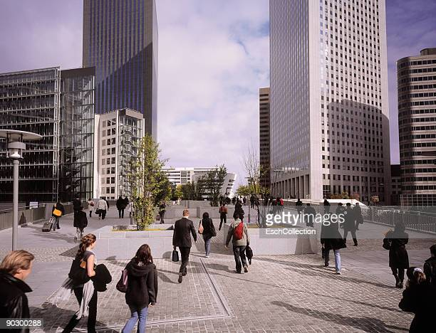 Commuters going to work at La Defense in Paris.