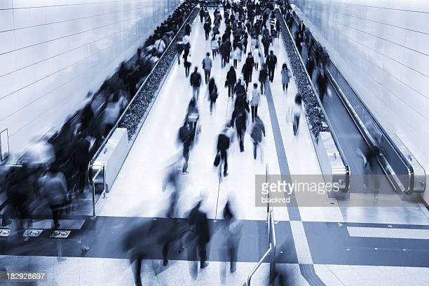 Commuters in Subway Station During Rush Hour