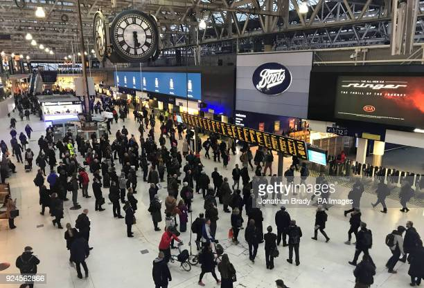 Commuters inside Waterloo Railway Station London as they make their way home during the evening rush hour ahead of warnings from railway companies...