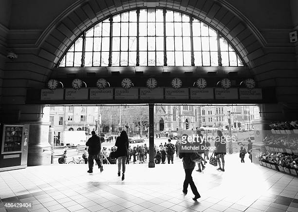 MELBOURNE AUSTRALIA SEPTEMBER This Image has been converted to black and white Commuters leave their trains at Flinders Street Station shortly before...