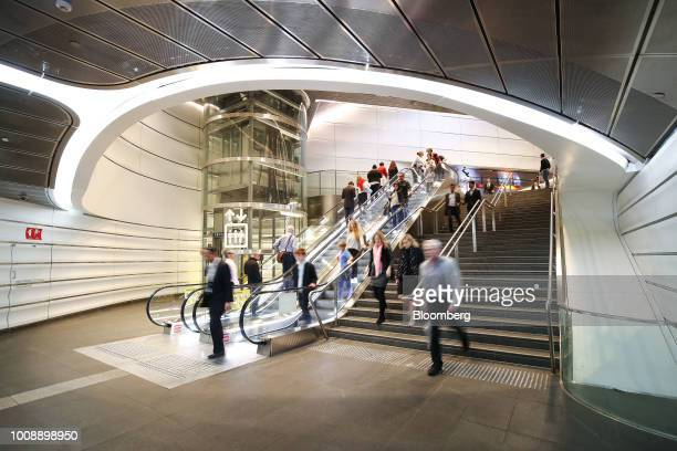 Commuters make their way through the Wynyard Walk pedestrian tunnel at Wynyard railway station in Sydney Australia on Monday July 30 2018 The nation...