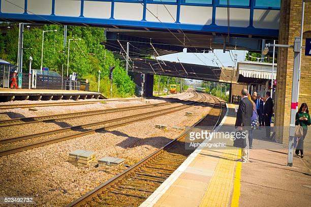 Commuters on Huntingdon train station