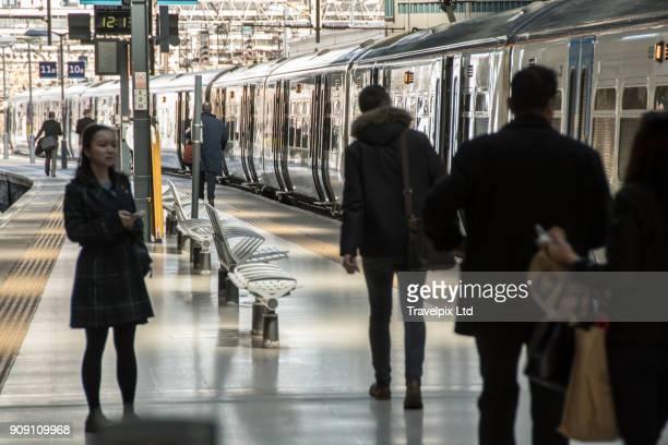 commuters on station platform London