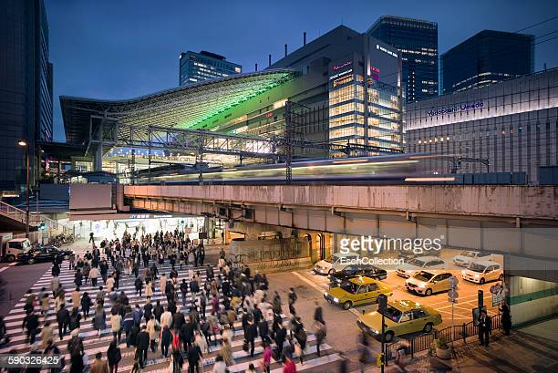 Commuters on the move at Osaka Station, Japan