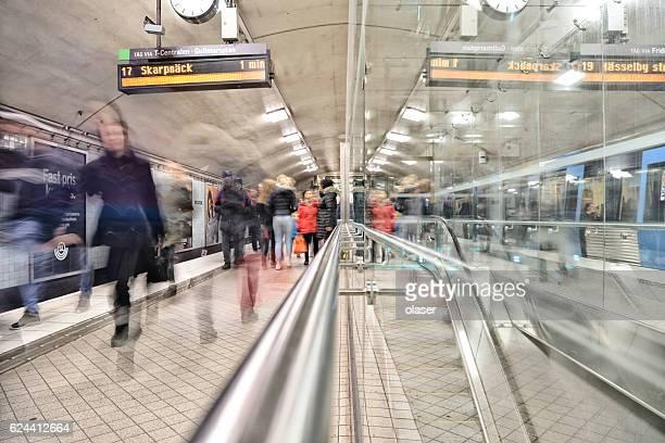 Commuters on underground station Odenplan