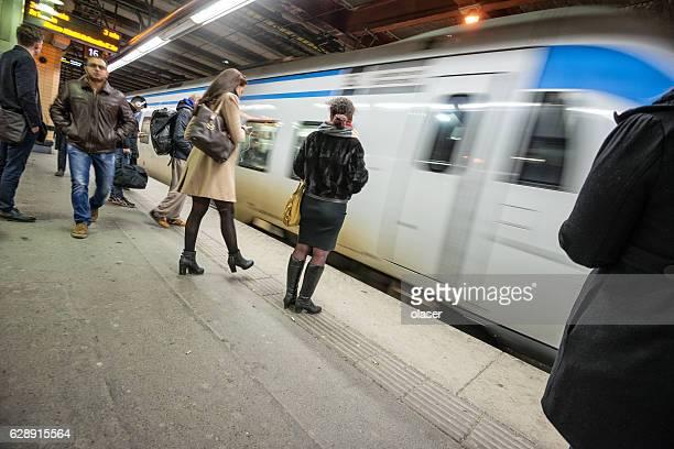 Commuters on underground station T-centralen