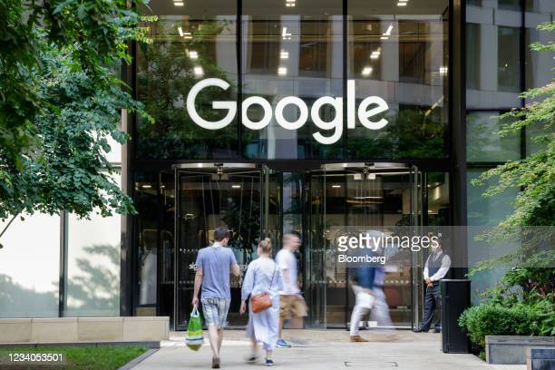 Commuters outside the Google offices in the King's Cross Central development in London, U.K., on Monday, July 19, 2021. Boris Johnson's plan to get...