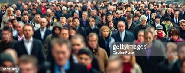 commuters panoramic - crowd of people stock pictures, royalty-free photos & images
