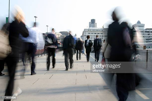 commuters - london bridge stock photos and pictures