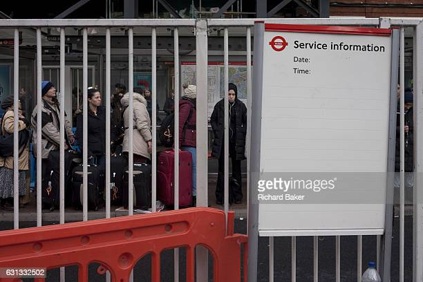 Commuters queue during the 24hr tube strike affecting Londoners and passengers throughout the capital on 9th January at Victoria Station London...