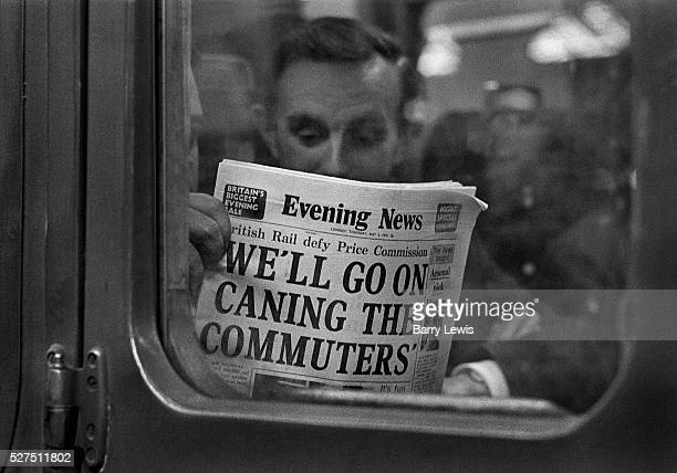 Commuters reading the Evening News on a Southern region train delayed in Charing Cross station Evening News formerly known as The Evening News was an...