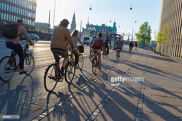 Commuters Riding Bikes Home From Work in Copenhagen Denmark