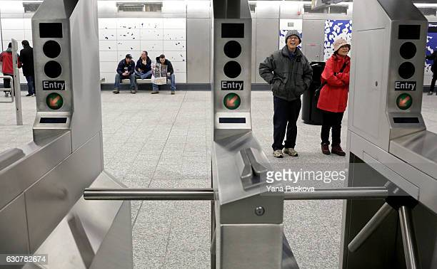 Commuters start at art by Sarah Sze at the 96th St Q train station on the newly opened Second Avenue subway line on January 01 2017 in New York City