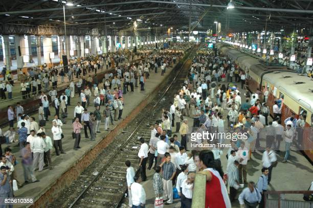 Commuters stranded in the evening at CST station as protesters disrupted railways due to the desecration of the statue of Ambedkar in Kanpur